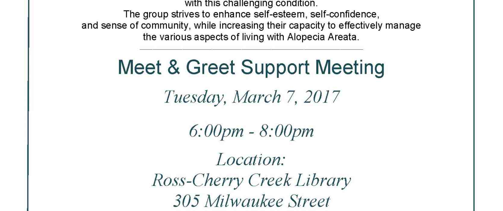 Denver Co Alopecia Areata Adult Support Group Meeting