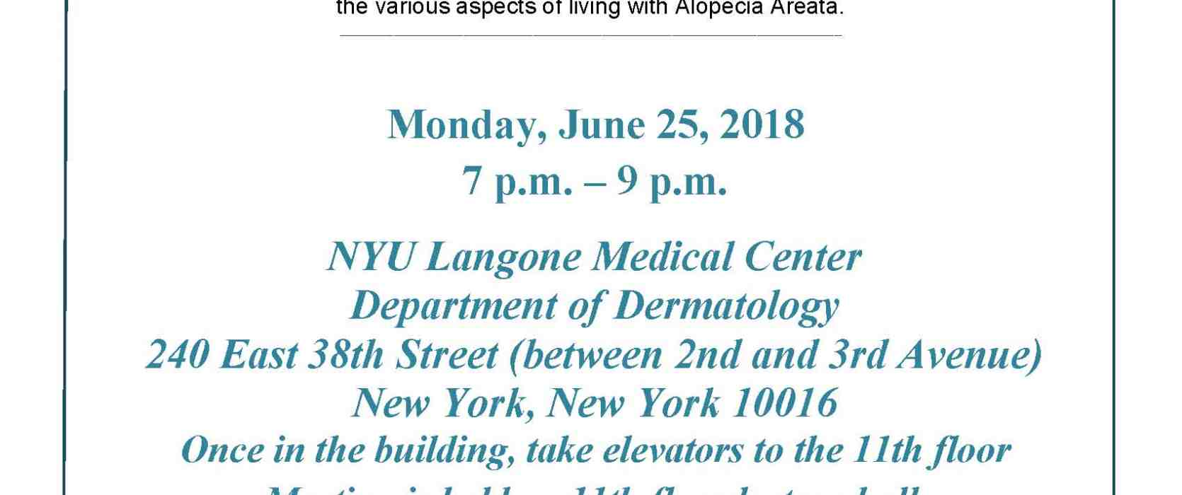 Manhattan Alopecia Areata Support Group Meeting | National