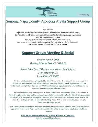 Sonoma napa counties support group national alopecia areata foundation - Round table montgomery village ...